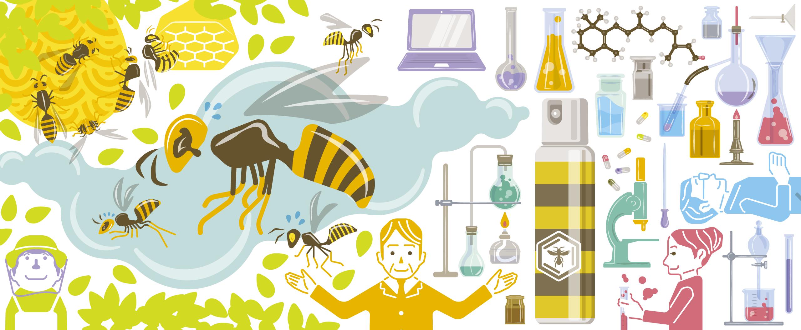 株式会社KINPは、スズメバチ科ハチ類に対する忌避・攻撃本能消失剤の研究・販売を行っています。